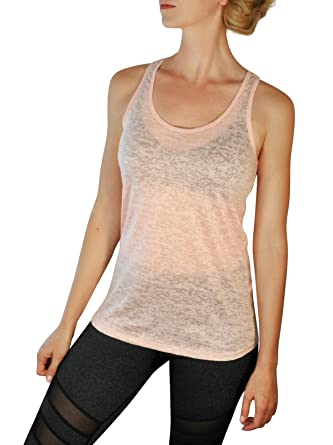 4c0349bb92564 Comfy Yoga Tops - Soft Burnout Racerback Tank Top - Sheer Dryfit Workout  Shirt for Women