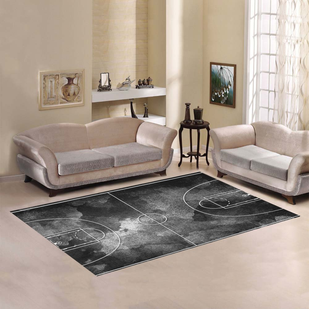 Love Nature Sweet Home Modern Collection Custom Grunge black Basketball court Area Rug 5'x3'3'' Indoor Soft Carpet