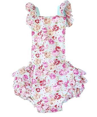 50c605ff2 Noah's Boytique Baby Toddler Girl Mint Floral Ruffle Romper Summer Outfit  0-6 Months