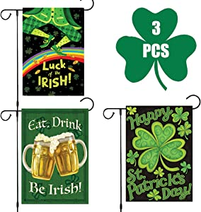 MrsharkFit St. Patrick Day Garden Flag Double-Sided Irish Green Shamrocks House Flag, Decorative Clover Indoor Outdoor Home Flag for Happy St Patrick's Day Garden Decoration, 12 x 18 Inch (3PCS)