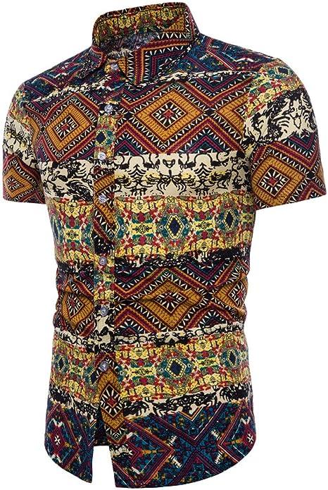 ღLILICATღ Shirt Camisa Hawaiana Hombre M - 5XL Manga Corta Bohemia de Impresión Shirt Casual Regular Fit Camisa de Hawaii Azul Real: Amazon.es: Deportes y aire libre