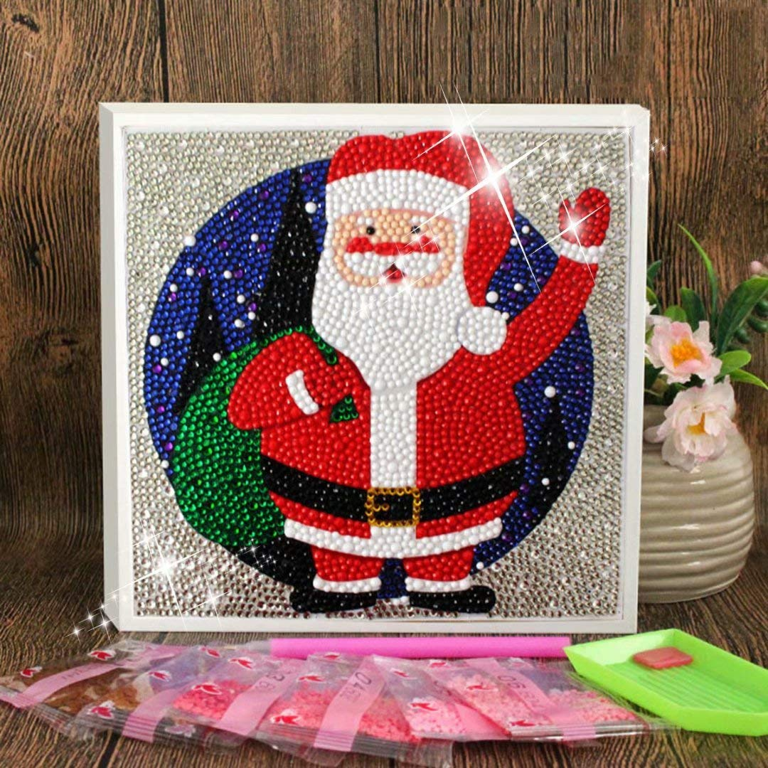 Include Wooden Frame-Santa Claus Diamond Painting for Kids Full Drill Painting by Number Kits Arts Crafts Supply Set Rhinestone Mosaic Making for Home Wall Decor Gifts for Christmas Birthday