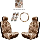 Beige Tan Hawaiian Hawaii Aloha Print with White Hibiscus Flowers Wild Series 2PC Car Truck SUV Auto Head Rest Covers with Front Seat Low Back Bucket Seat Covers and Steering Wheel Cover and Seat Belt Shoulder Pads - 7PC Low Back Set
