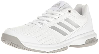 adidas Womens Shoes  Adizero Attack Tennis WhiteMetallic SilverMedium Grey Heather