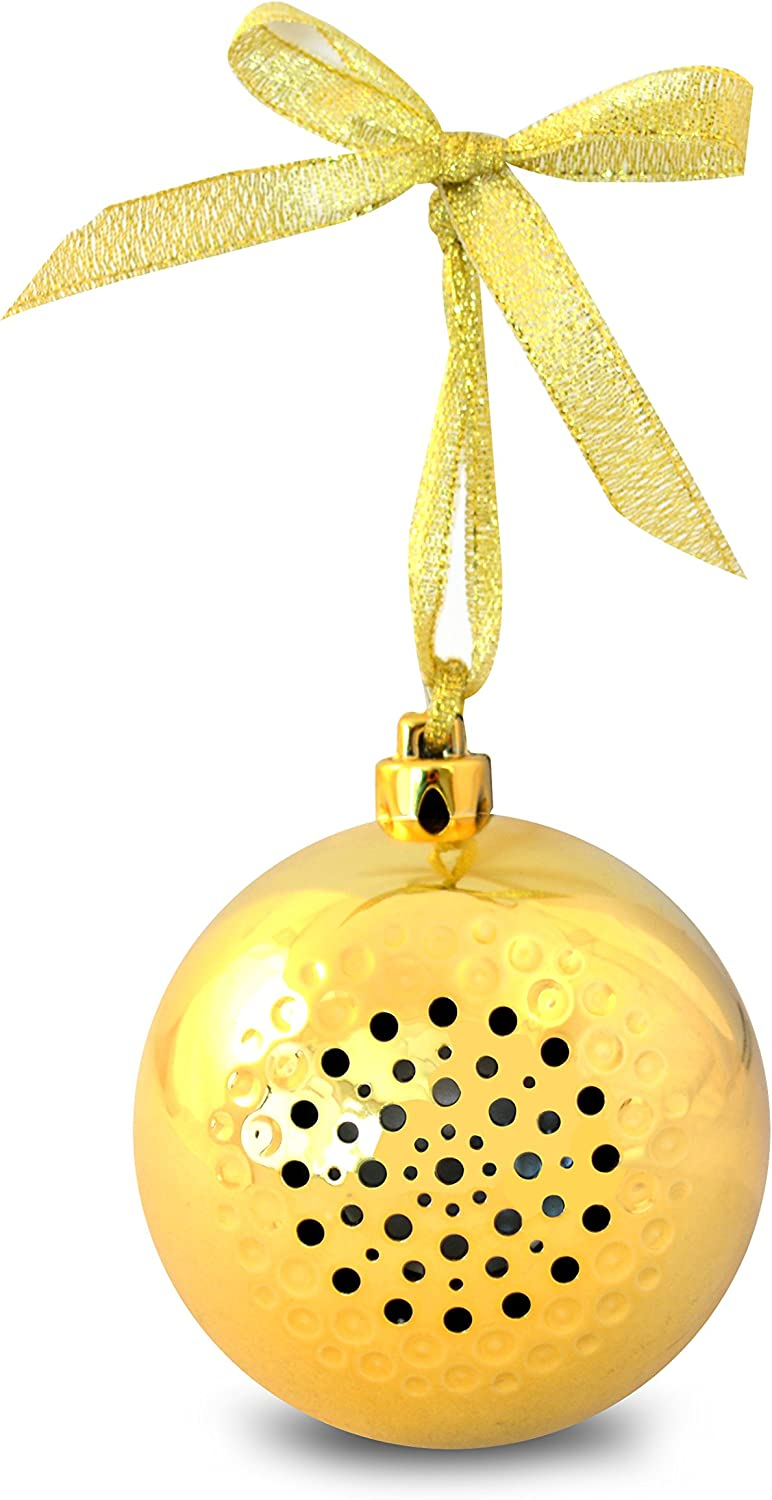 Life Made Tree Tunes Christmas Ornament Bluetooth Speaker for Smartphones - Retail Packaging - Gold