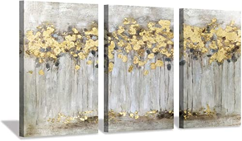 Abstract Canvas Wall Art Painting: Hand Painted Heavy Textured Gold Foil Embellishment Forest Landscape Artwork Picture