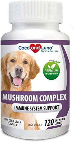 Mushroom Complex for Dogs – Immune Support for Dogs, Digestive Support, Dog Hip and Joint Health – with Turkey Tail, Lion s Mane, Shiitake, Maitake, Milk Thistle Vitamins