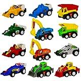 Mini Auto Tirare Indietro e Andare Scavatori Bulldozer Racing Cars Karting Set di Veicoli Colorati per Bambini, 12 Pcs
