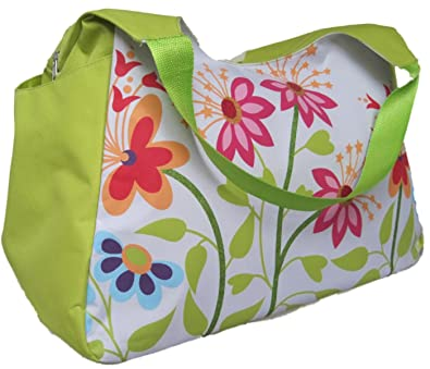 LARGE BEACH BAG Green With Pink Flowers (H)33x(W)51x(D)23cm. With ...