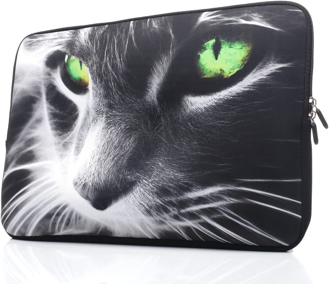 15-15.6 Inch Laptop Sleeve Case Handle Bag Neoprene Cover ForHp/Dell/Lenovo/Thinkpad/Asus/Acer, Tiger (Grey Green)