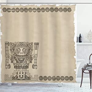 Ambesonne Tribal Shower Curtain, Mayan and Inca Tribal Superstition Prehistoric Relic Archeology, Cloth Fabric Bathroom Decor Set with Hooks, 70