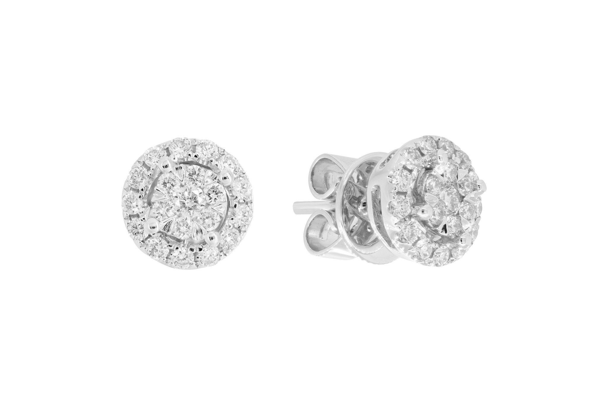 London Fine Jewelry 14K White Gold 0.45 cttw Round-Cut Diamond Pressure Stud Earrings