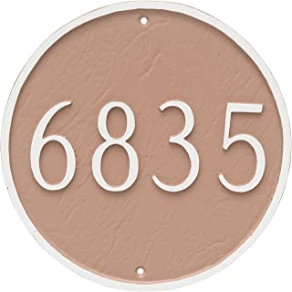 "product image for Montague Metal Circle Address Sign Plaque, 18"" x 18"", Sand/Silver"