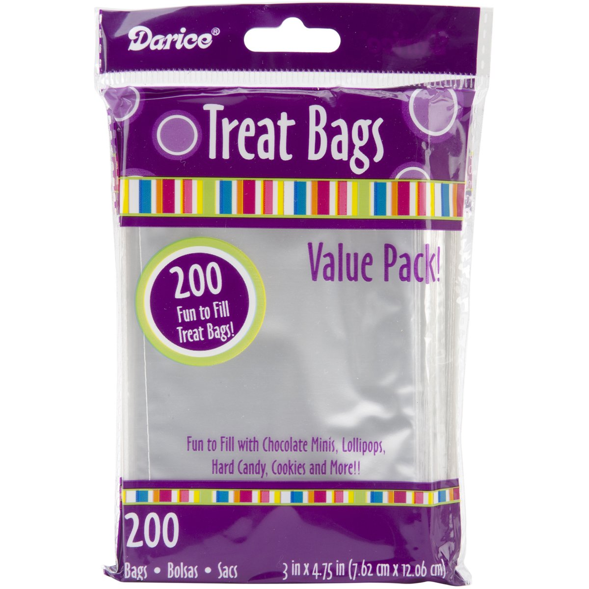 Darice 28-001V 3-Inch by 4-3/4-Inch Clear Treat Bag, 200-Pieces