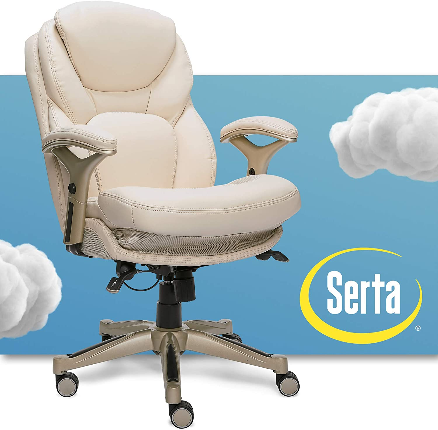 Serta Ergonomic Executive Office Chair Motion Technology Adjustable Mid  Back Design with Lumbar Support, Ivory Bonded Leather