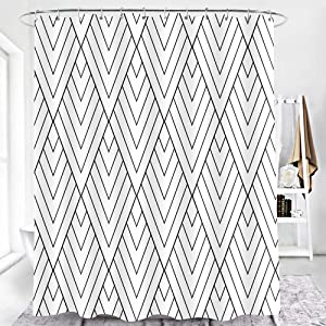 EARVO Simple Line Pattern Shower Curtain Geometric Print Lines and Contemporary Stripes Modern Design Bathroom for Home Hotel Decor Waterproof Polyester 12 Hooks 60x72 inches WQEA024-60