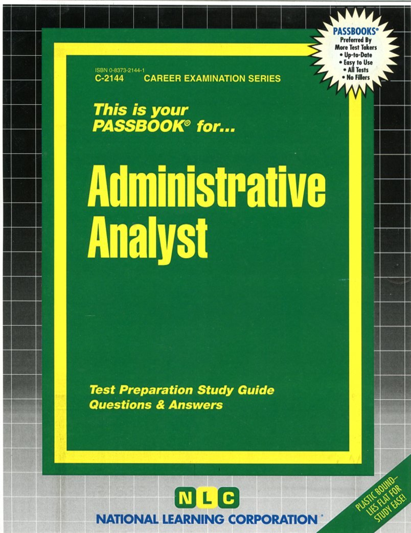 Buy Administrative Analyst (Career Examination Series : C-2144) Book Online  at Low Prices in India | Administrative Analyst (Career Examination Series  ...