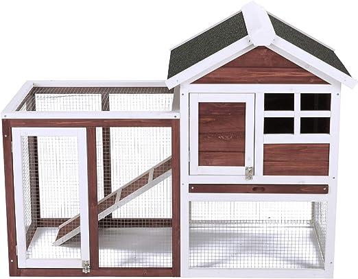 Conejera de Mascotas Casa para Conejito de Madera en Color Auburn y Blanco para Patio con Escalera para Animales Pequeños, Hutch de Conejo de 2 Plantas: Amazon.es: Productos para mascotas