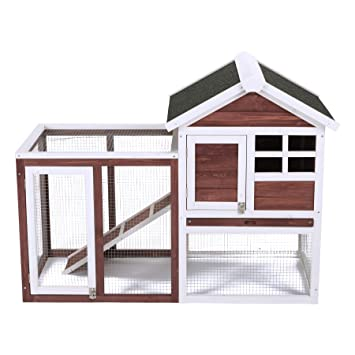 Fithalt Conejera de Mascotas Casa para Conejito de Madera en Color Auburn y Blanco para Patio con Escalera para Animales Pequeños, Hutch de Conejo de 2 ...