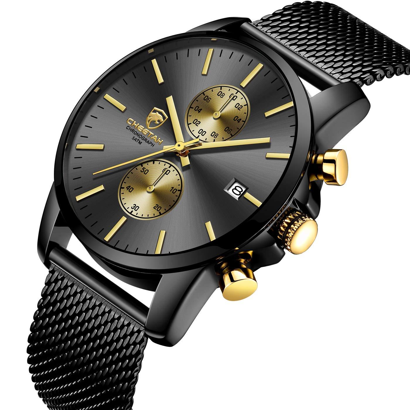 GOLDEN HOUR Men s Watches Fashion Sport Quartz Analog Black Mesh Stainless Steel Waterproof Chronograph Wrist Watch, Auto Date in Blue Red Gold Hands