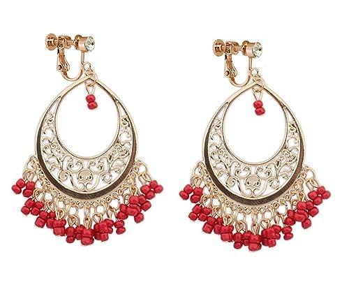 92a2038da Amazon.com: Bohemia Dangle Clip on Earring Tassel Boho Chandelier Drop Hoop  Earrings Women Ladies Gold Red Beads: Jewelry