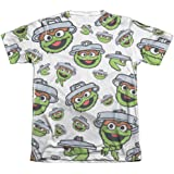 Sesame Street Oscar Face Pattern Mens Sublimation Shirt