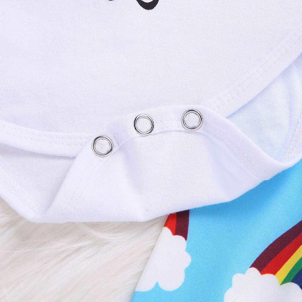 3 PCS Baby Girl Boy Cotton Letter Print Romper Tops+Rainbow Pant+Bow Headband
