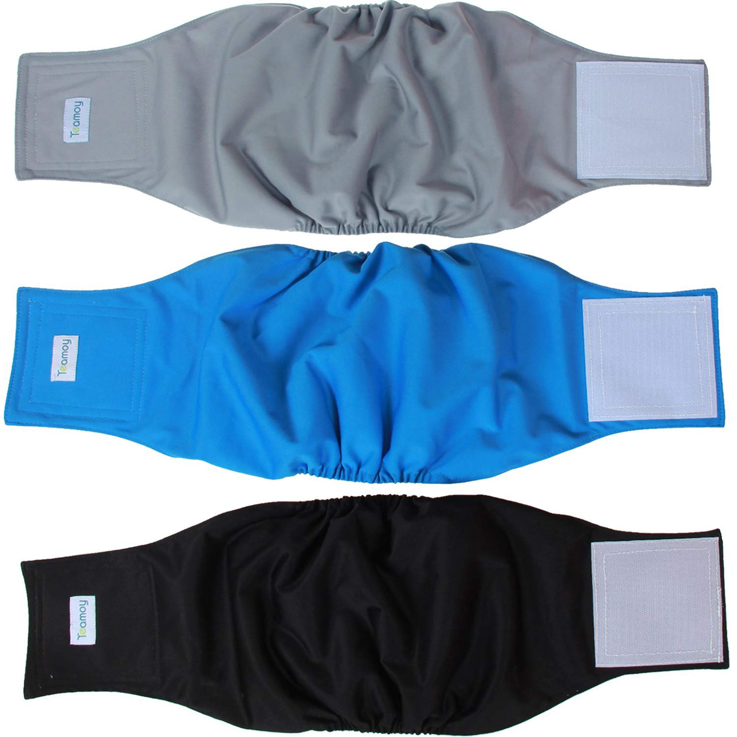 Teamoy Reusable Wrap Diapers for Male Dogs, Washable Puppy Belly Band Pack of 3 (XXL, Black+ Gray+ Lake Blue) by Teamoy