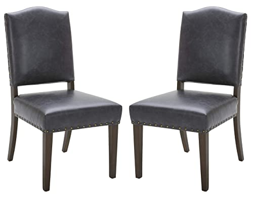 Stone Beam Leather Parsons Dining Chairs, Set of 2, 39 H, Black