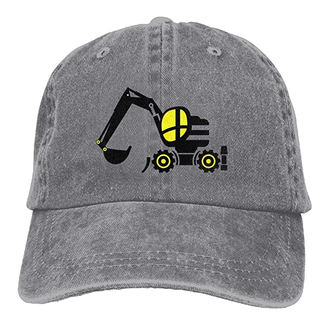 e35af926d Arsmt Black Yellow Gear Excavator Denim Hat Adjustable Men Low Baseball Hats