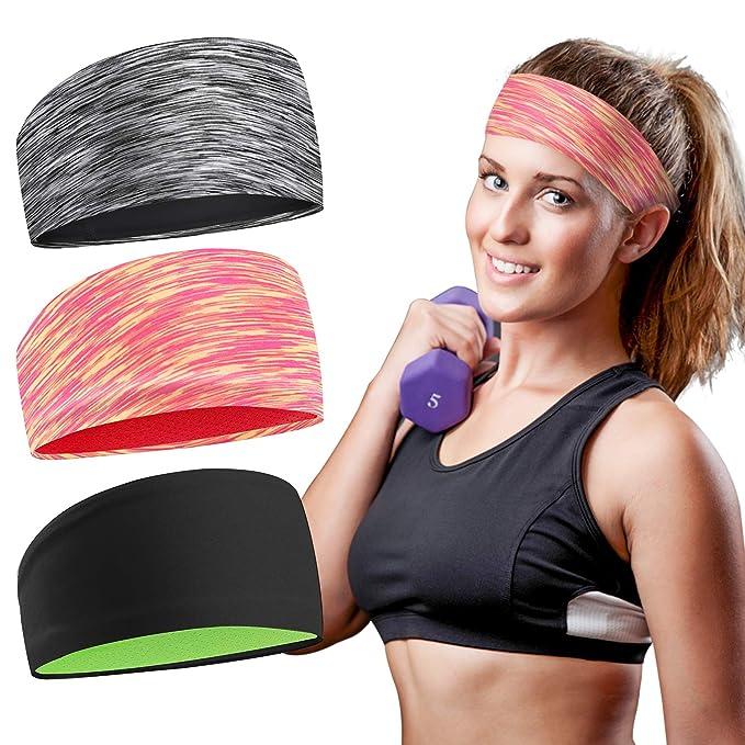 3pcs Women Sport Headband Female Elastic Fitness Sweatband Hairband Workout Gym