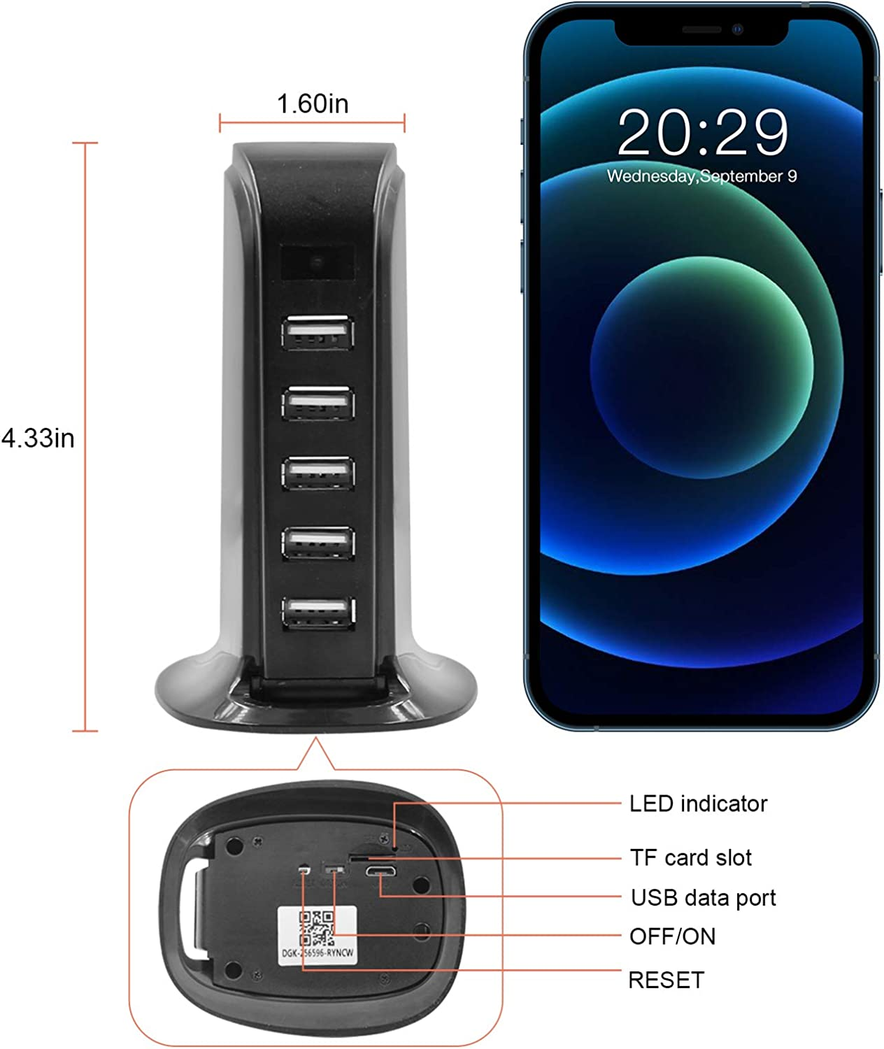 USB Charger Camera WiFi CAMXSW Wireless HD 1080P Nanny Cam Security Home Surveillance Camera with Motion Detection Support Android//iOS