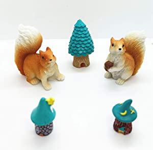 Honeyshow Fairy Garden Accessories Outdoor, Resin Fairy House & Squirrel Figurine Ornaments-5pcs Hand Painted DIY Miniature Garden Ornaments for Patio, Lawn, Micro Landscape, Yard Bonsai Decals