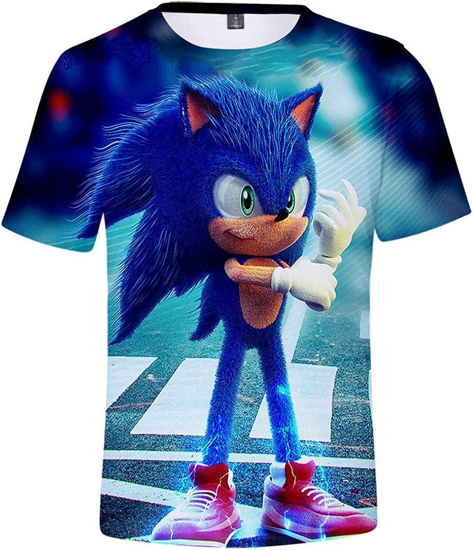 Silver Basic Camiseta Deportiva para Niños 3D Inspirada en la Popular Película y Videojuego Sonic The Hedgehog Summer T-Shirt Sonic Cosplay tee Top
