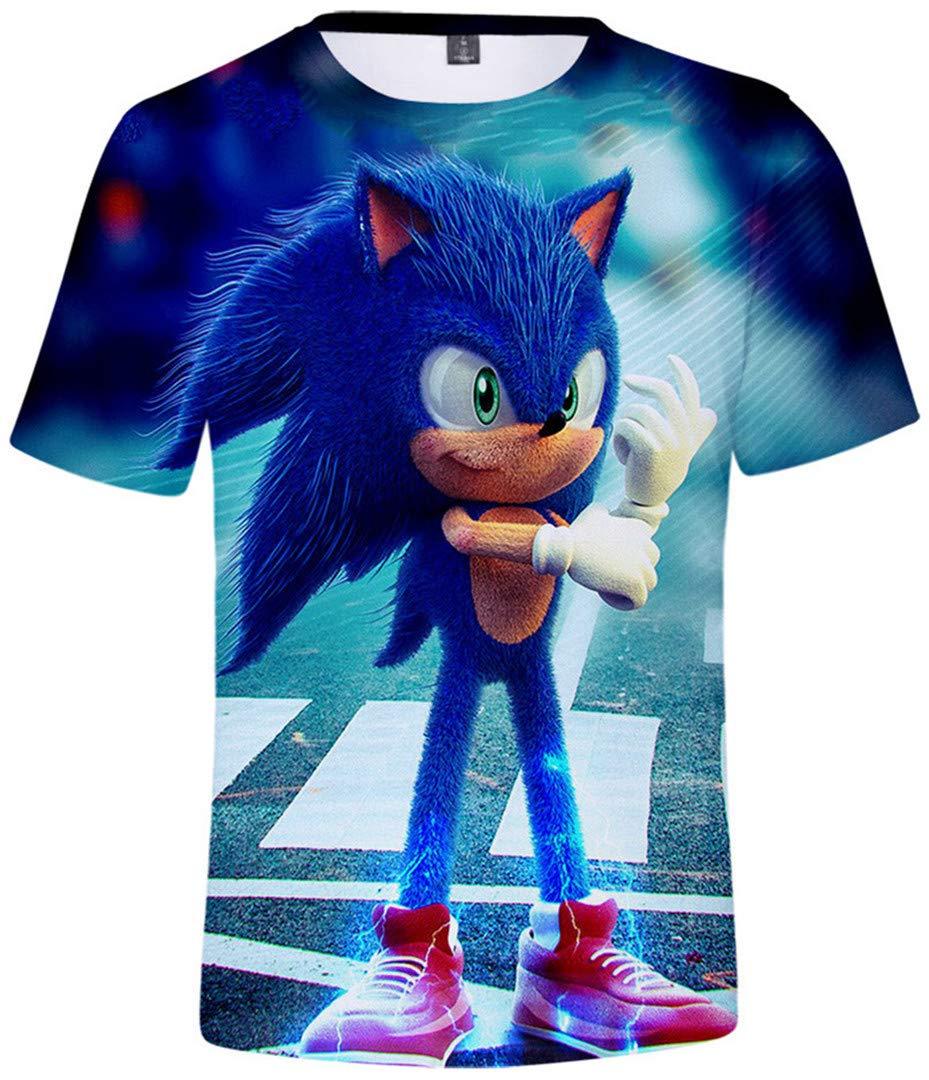 Maglietta Corta con Stampa 3D Cartoon Abbigliamento Ragazze 4-14T hengGuKeJiYo Maglietta Estiva Sonic per Bambini Ragazzi