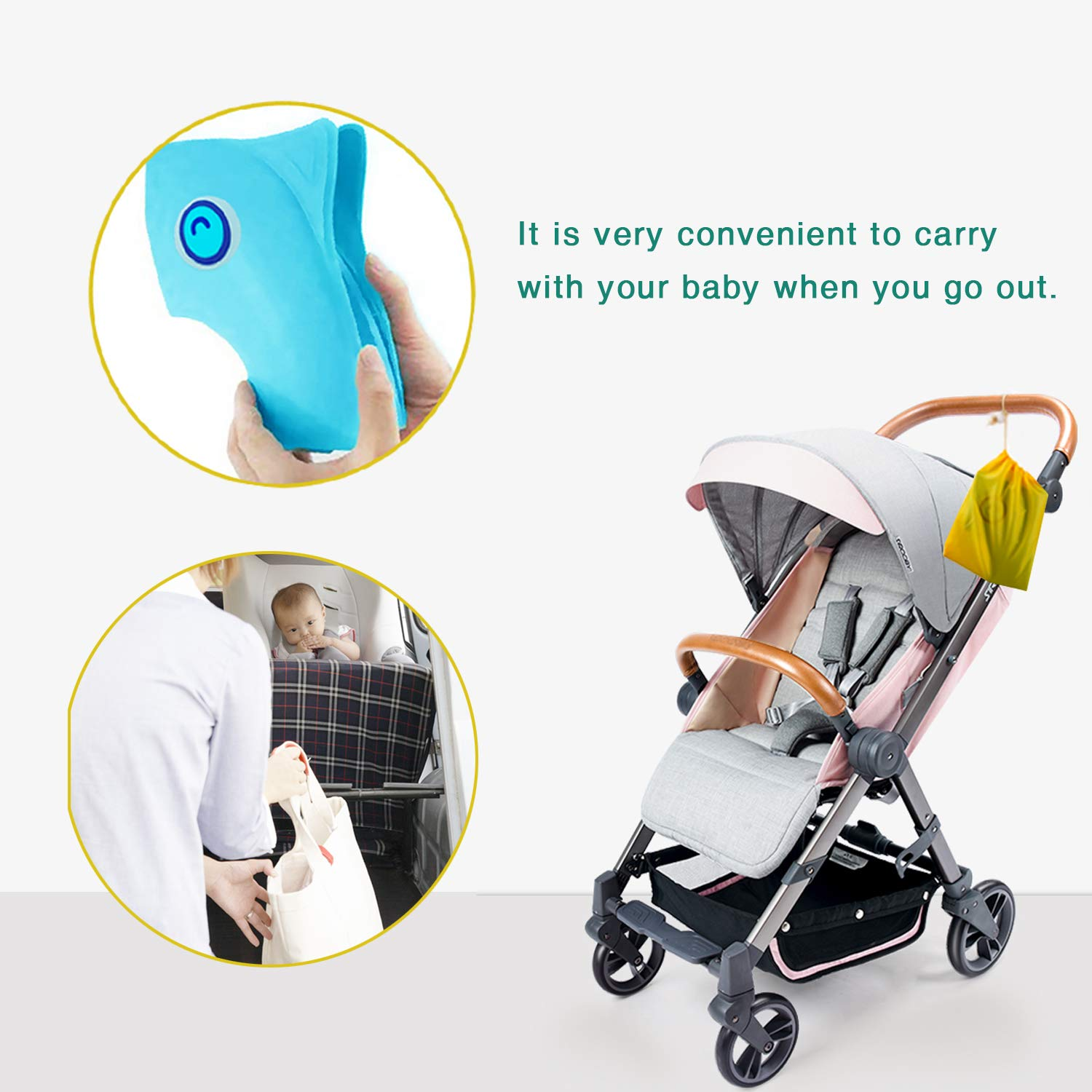 TURN RAISE Baby Toilet Seat Blue 6 Pcs Non Slip Silicon Pads Training Seat Cover for Toddlers Kids