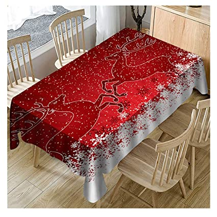 Christmas Tablecloths.Staron Christmas Tablecloth For Rectangle Tables Rectangle Tablecloths Fabric Christmas Table Decor Cloth Xmas Happy New Year Deer Snowflakes Table