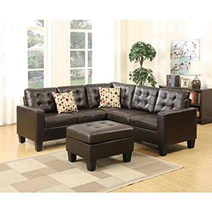 Awesome Amazon Com Benzara Bm168742 Bonded Leather Sectional Sofa Squirreltailoven Fun Painted Chair Ideas Images Squirreltailovenorg