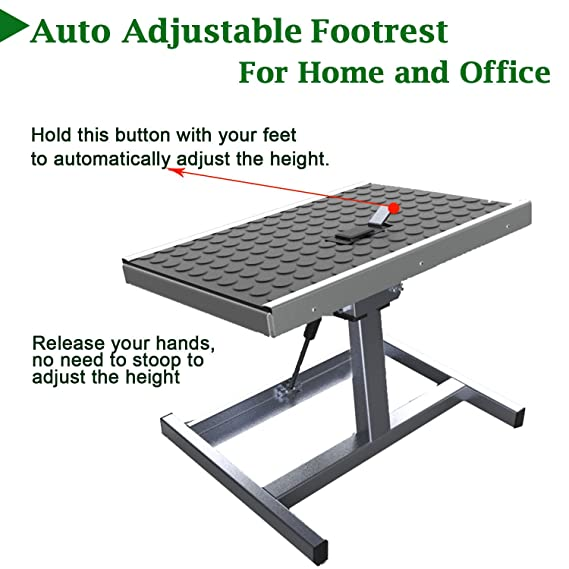 Amazon.com : Auto Adjustable Footrest, Ergonomic Comfortable Height Adjustable  Footstool For Home And Office (Heavy Frame) : Office Products