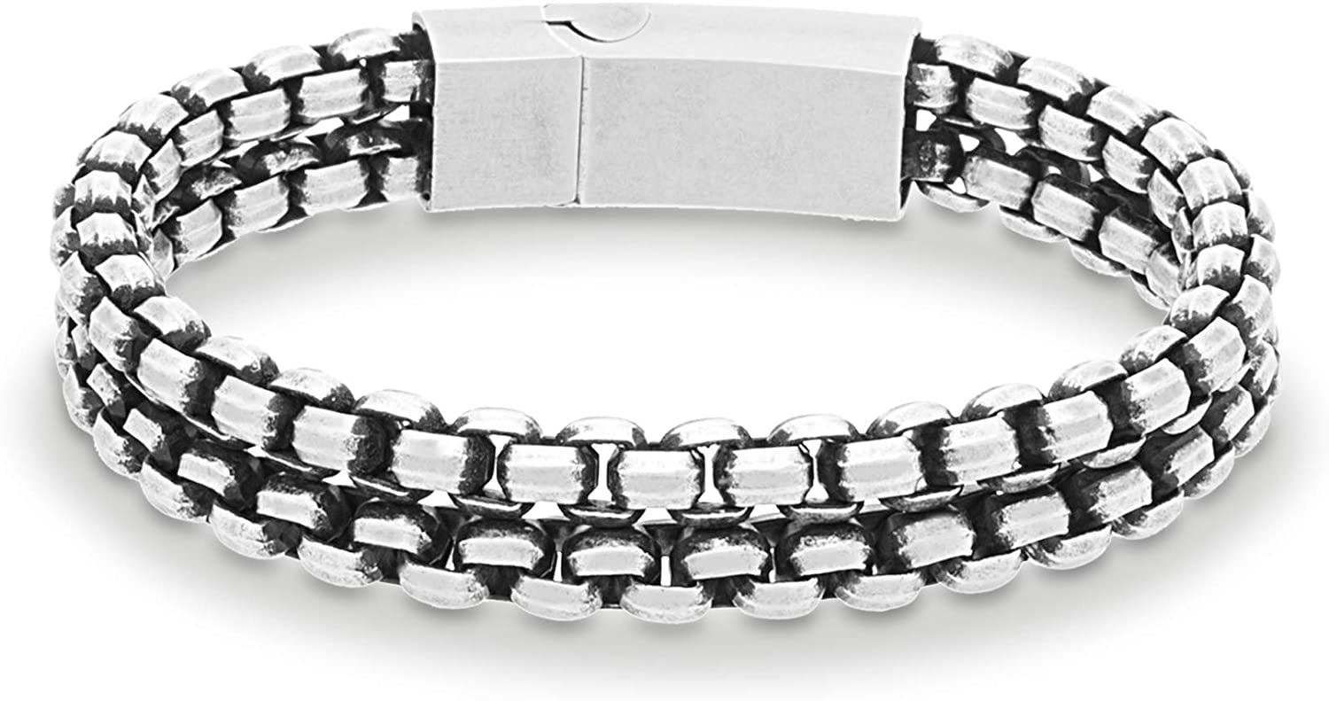 "Steve Madden Men's 8"" Polished Double Strand Box Chain Bracelet in Stainless Steel"