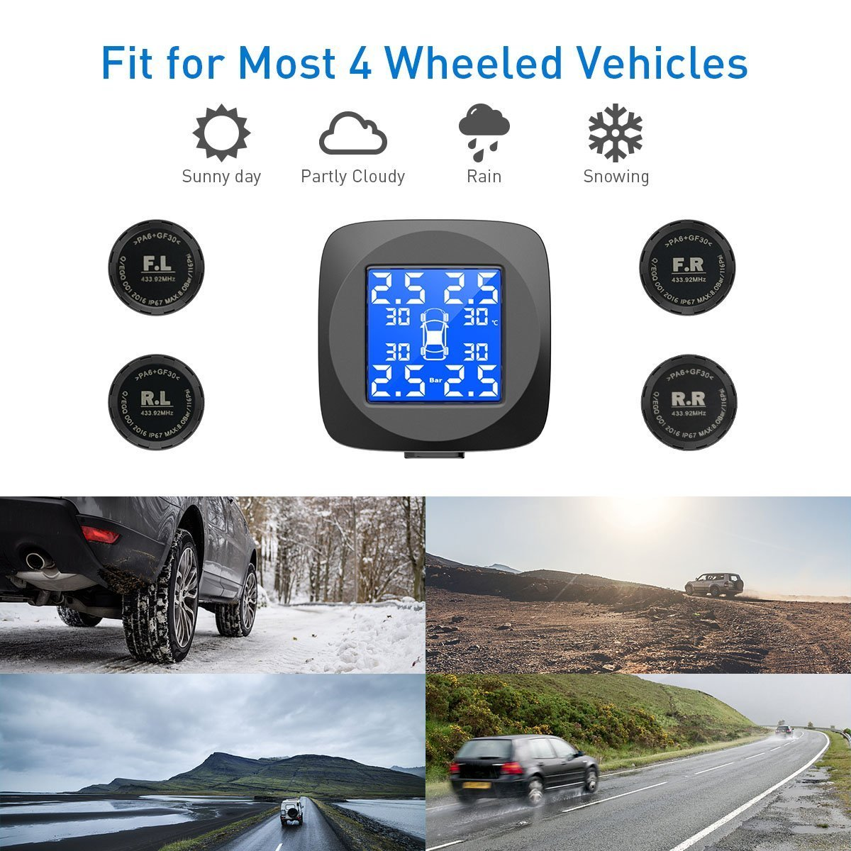 CHGeek Tire Pressure Monitoring System, Wireless TPMS with 4 External Sensors (Monitor 0-8.0 Bar/0-116 Psi, 65-85℃), 6 Alarms Real-time High Precision Monitor Temperature & Pressure by CHGeek (Image #3)