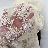 KING DO WAY 1.42YardX50cm Dentelle Tissu Coton Couture Artisanat DIY Lace Fabric Sewing Floral-Beige