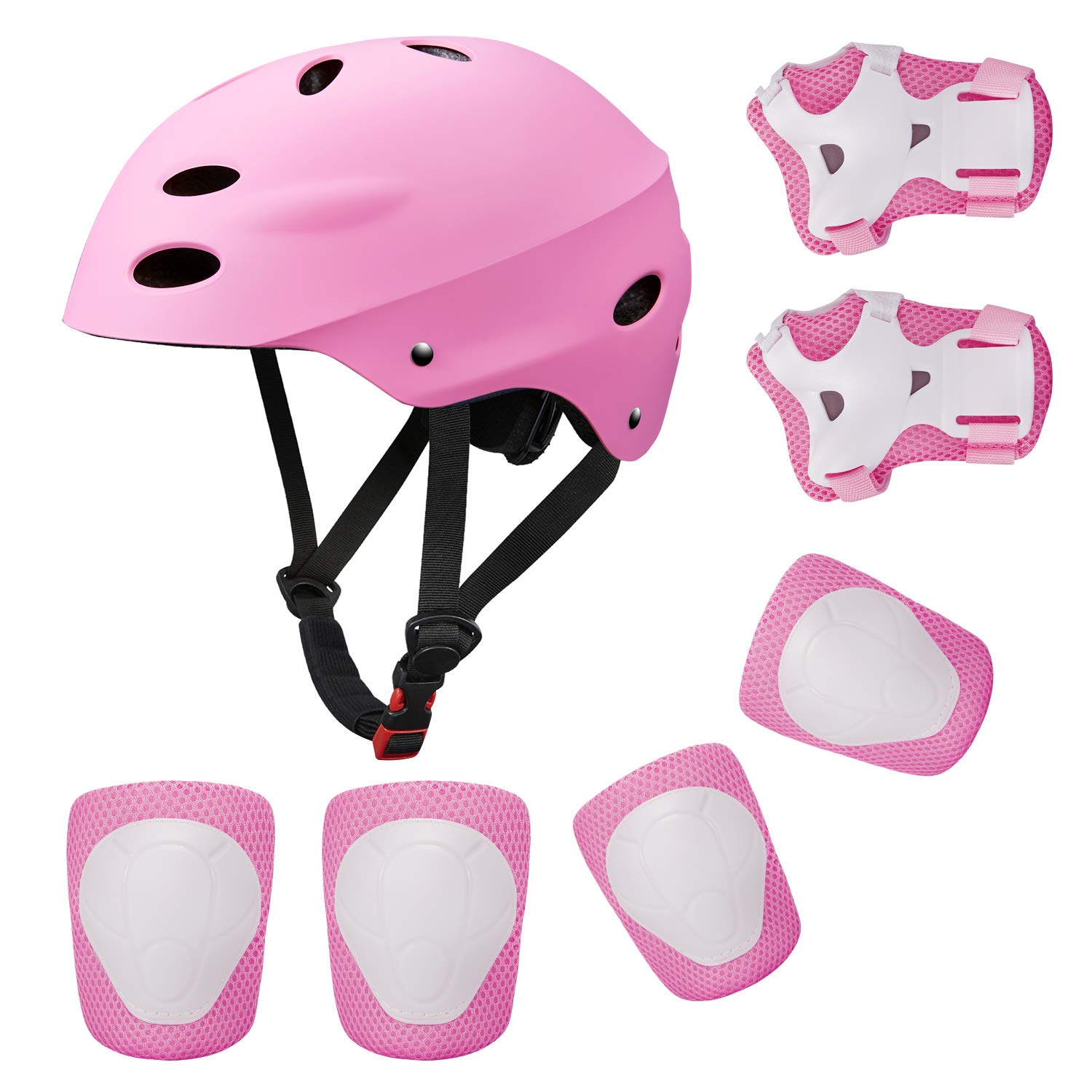 Kids Sports Knees Elbows Wrists Head Support Protection Helmet Set for Unisex Toddler Children Extreme Sports Youth Roller Bicycle BMX Bike Skateboard Protector Guards Pads -7Pcs(Pink)