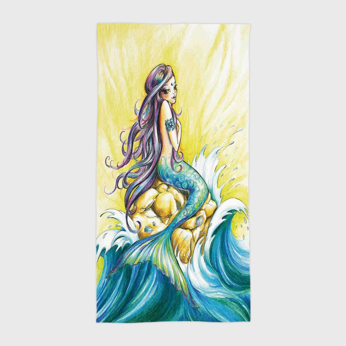 Beach pool bath hand towelmermaid magical mermaid sitting on rock sunny day colored pencil drawing effect yellow blue purplefor kids teens and adults