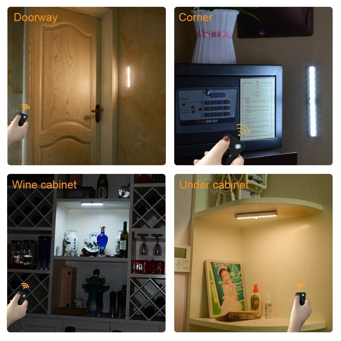 LDOPTO Under Cabinet Lights 4 Pack LED Closet Light with Remote