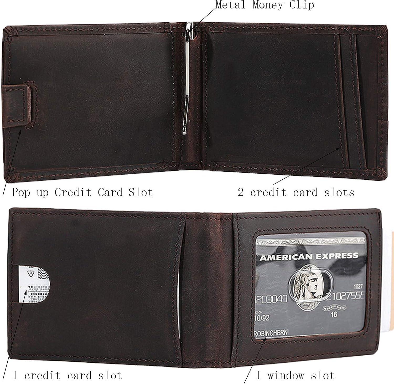 Slim Leather Wallet Genuine Skin Sleeve Front Pocket Card Slots RFID ID Window