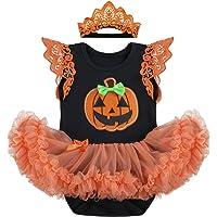 Baby Girls It's My 1st Halloween Costume Romper Dress with Headband Leg Warmers Shoes Pumpkin Skull Printed Bodysuit…