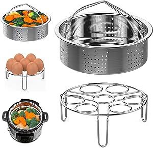 Steamer Basket and Egg Steamer Rack, Packism Stainless Steel Vegetable Steaming Trivet Holder Fit 5qt 6qt Instant Pot accessories Pressure Cooker Air Fryer Ninja Foodi, Small Size