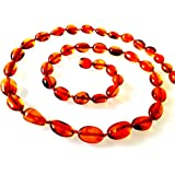AMBERMILANA Baltic Amber Necklace/Women/Olive Beads/Healing Amber Necklace/Certified Genuine Baltic Amber