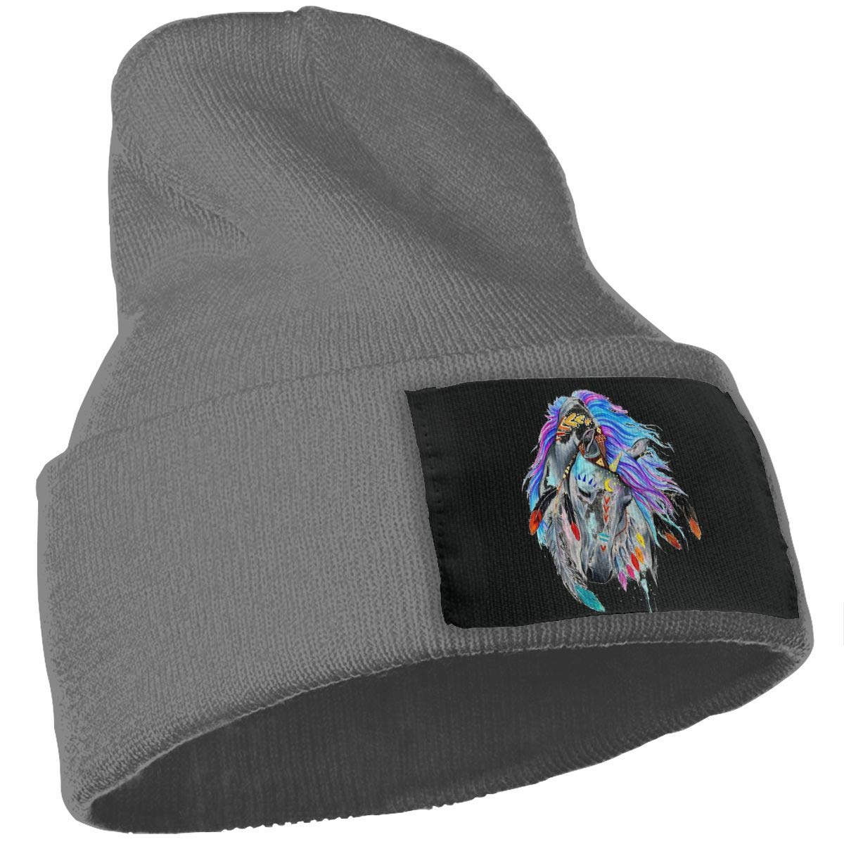 Color National Wind Horse Warm Winter Hat Knit Beanie Skull Cap Cuff Beanie Hat Winter Hats for Men /& Women